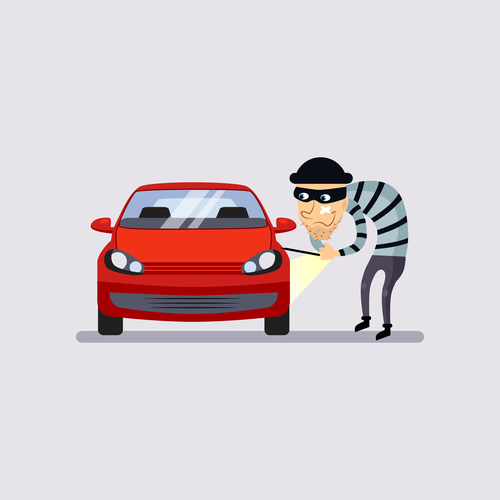 Car Insurance and Theft Vector Illustration